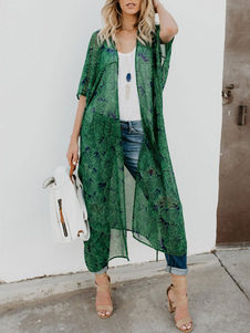 Mulheres quimono encobrir verde floral impressão mangas curtas swimwear
