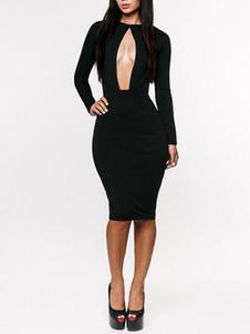Платья-утяжки черного сексуального эластичного платья миди