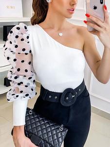Blusa Mulheres Bolinhas Brancas Sheer Puff Sleeves Sexy Tops