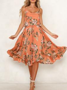 فستان الصيف الأزهار المطبوعة القطن مزيج الشاطئ زلة اللباس