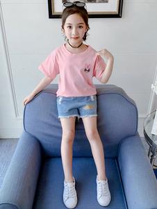 Conjunto de roupas de verão de mangas curtas rosa de criança e calças curtas de poliéster
