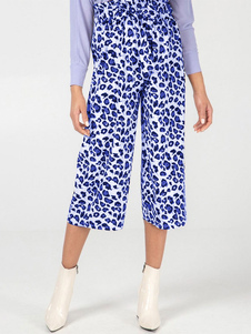 Pantalones anchos Pantalones de bolsa de papel con estampado de leopardo