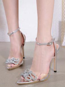 المرأة مثير الكعوب العالية الفضة واشار تو أحذية أحجار الراين مثير