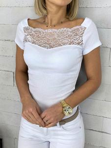 Manga curta Tees White Lace Praça Neck Mulheres Camiseta
