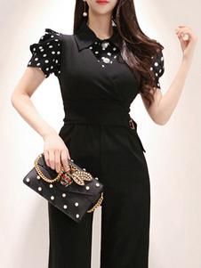 Черная рубашка в горошек с комбинезоном из двух частей