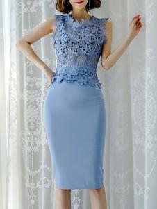 Duas peças define laço azul Split mangas mulheres roupa