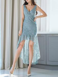 Lace Bodycon Vestidos Azul V Neck Ruffles alta Vestido Baixo