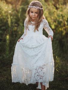 Robe fille de fleur col rond manche longue en dentelle Robe cortège enfant