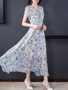 Maniche corte floreale maxi abiti con scollo a V abito estivo in chiffon