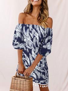 Vestido de verano fuera del hombro Vestido de playa con borlas estampadas