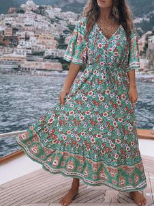 الأزهار ماكسي فساتين بوهو طباعة الخامس الرقبة فستان الصيف