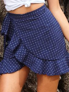 Falda cruzada de verano Minifalda con estampado de volantes
