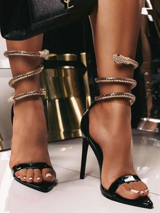High Heel Stiletto Black Patent Upper Pointed Toe Metal Details Sexy Sandals