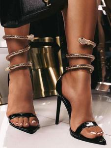 Sandalias sexy de tacón alto Tacón de aguja Negro Patente PU Punta en punta superior Detalles de metal Sandalias sexy