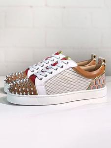 Мужские кроссовки 2020 Кофе Коричневый с круглым носком Заклепки Ремешок с ремешком Spike Повседневная обувь с цветными блоками