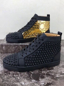 Mens Spike 2021 Shoes black Round Toe Rivets lace up High top Sneakers