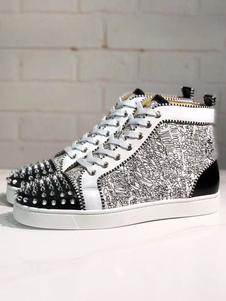 Mens Spike Sneakers 2020 Sapatos Preto e Prata Colorblock Couro Dedo Do Pé Redondo Spikes lace up High top Casual sapatos de Skate