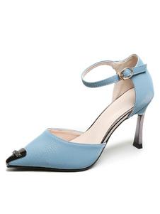 Tacchi alti da donna Punta a punta Tacco a forma speciale Dettagli in metallo Sandali con cinturino alla caviglia azzurro cielo