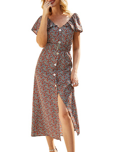 Vestido de verão V Neck Ruffle Button Up Beach Dress