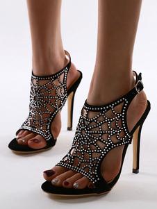 Le donne di Pompe Peep Toe tacco a spillo Womens Chic nero con strass Sandali