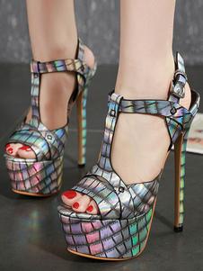 delle donne sexy sandali peep toe tacco a spillo Chic Python T-Strap Sandals Sexy