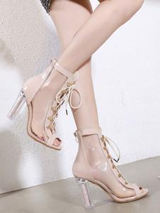 Estate Stivali alti talloni delle donne tacco grosso Chic merletto della parte anteriore del legame di Peep Estate Boots