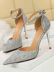 Scarpe da sera con tacco alto Scarpe da sera con cinturino alla caviglia a punta argentata