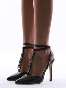 Sandali da donna Tacchi alti Punta a punta Tacco a spillo Dettagli in metallo Sandali neri chic