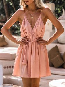 Летнее платье с V-образным вырезом без спинки Cami Dress