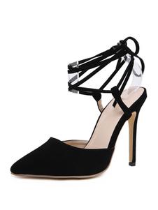 Sandali da donna con tacchi a punta e tacco a spillo chic con cinturino alla caviglia nero