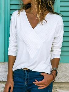 De manga larga Camisetas Blanco cuello en V Camiseta de las mujeres