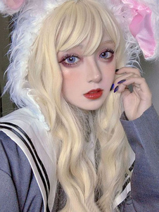 Parrucche lunghe Lolita Parrucca per capelli ricci Lolita bionda con frangia