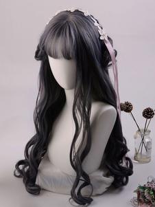 شعر مستعار طويل لوليتا الباروكة الألياف مقاومة للحرارة مجعد الشعر لوليتا