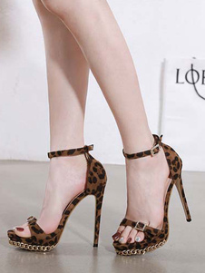 Tacchi alti da donna Punta aperta Stampa leopardo Tacco a spillo Dettagli in metallo Sandali con cinturino alla caviglia chic