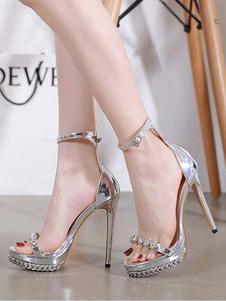 Sandali sexy tacchi alti punta aperta tacco a spillo strass sandali sexy catena chic