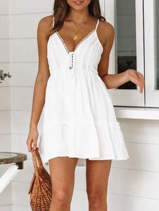 Vestido de verano blanco Vestido slip de algodón en la playa