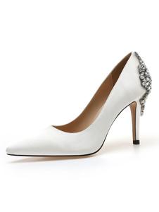 Scarpe da sera con tacco alto Scarpe da sera con strass a punta bianche