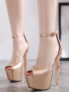 Sandali sexy per donna Sandali sexy con plateau e cinturino alla caviglia in pelle PU tacco alto biondo