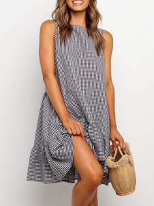 Vestido de verão de grandes dimensões babados vestido de praia de algodão xadrez