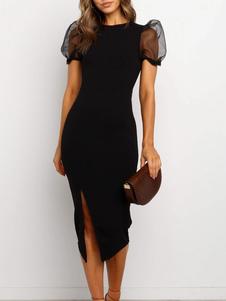 Обтягивающие платья черного цвета с длинными рукавами и кружевным платьем