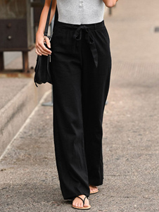 Pantalones de lino Pantalones de cintura recta con cintura anudada