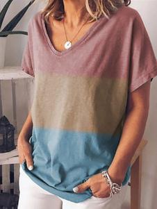 T-shirts manches courtes Ombre col en V femmes T-shirt