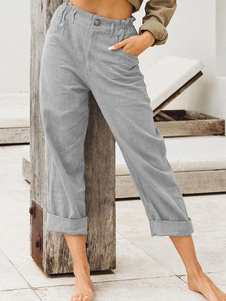 Lino pantalones rectos Pantalón de pierna