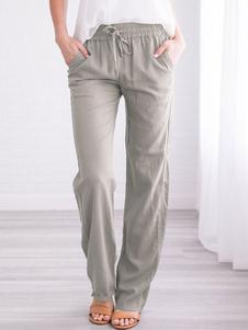 Pantalones de lino Pjs pantalones elásticos de la cintura Loungewear