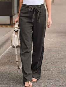 PJS lino pantalones cintura del lazo Loungewear Pantalones