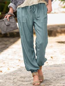 Pantalones de lino PJS cintura del lazo Loungewear pantalones con bolsillos