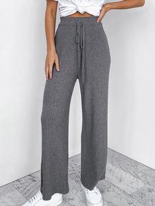 Pantalones de punto Pantalones anchos grises con cintura recta