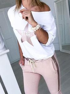Conjuntos de dos piezas Conjunto de mujer Loungewear estampado con estrella rosa