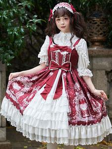 Lace Front Sweet Lolita JSK arco del vestito stampa floreale di apertura Lolita Gonna