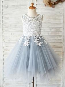 フラワーガールのドレスジュエルネックノースリーブレースボディスフォーマルキッズページェントドレス